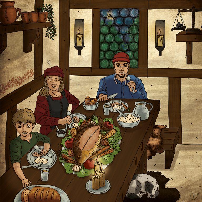 Festmahl zu Heiligabend im Mittelalter